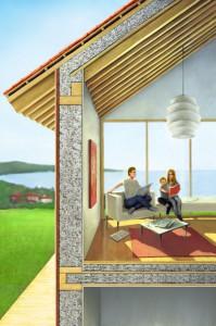 Zellulosedämmungen werden einfach in Hohlräume unterm Dach oder in einer Holzständerwand eingeblasen.  Zellulosedämmungen werden einfach in Hohlräume unterm Dach oder in einer Holzständerwand eingeblasen.  Foto: djd/CWA